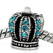 Crown With blue Crystals Spacer for Snake Chain Charm Bracelet