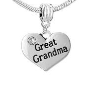 Heart 2 Sided w/ Crystal Stones Great Grandma Charm