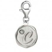 Alphabet Letter C Charm Pendant for European Clip on Charm Jewellery w/ Lobster Clasp
