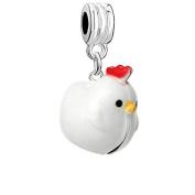 Christmas Ornament Chicken Bell Charm Bead
