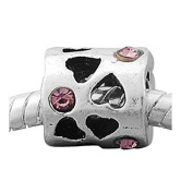 June Carved Hearts Birthstone Charm European Bead Compatible for Most European Snake Chain Bracelet