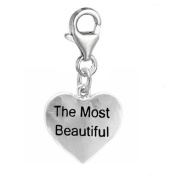 The Most Beautiful heart Clip On For Bracelet Charm Pendant for European Charm Jewellery w/ Lobster Clasp