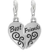 Two Piece Heart Best Friends Clip on Pendant Charm for Bracelet or Necklace