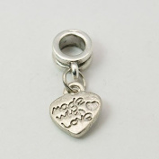 Antique Silver Finish Made With Love Dangle Charm Bead. Compatible With Most Pandora Style Charm Bracelets.