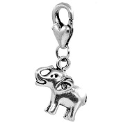 Clip on Elephant Charm Pendant for European Jewellery w/ Lobster Clasp