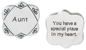 Pocket Token Charm Gift for Aunt - You have a Special Place in My Heart - Flower Shaped Engraved Metal - 3.2cm