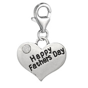 Happy Fathers Day Heart Clip on Pendant for European Charm Jewellery w/ Lobster Clasp