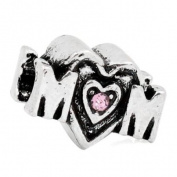 Pink Rhinestone Mom Charm Bead. Compatible With Most Pandora Style Charm Bracelets.