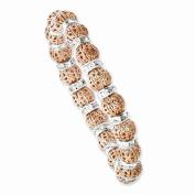 Copper-tone & Silver-tone Clear Epoxy Stones Stretch Bracelet