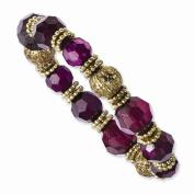 Gold-tone Purple Crystal Stretch Bracelet