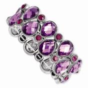 Silver-tone Purple & Pink Epoxy Stones Stretch Bracelet