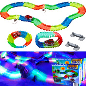 2 Light Up Twisting Glow In The Dark Race Tracks - Magic Twister Race Track Toy Cars - Endless Glowing Track Possibilities