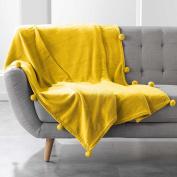 Douceur d 'Intérieur Blanket with Tassels, Polyester, yellow, 125 x 150 cm