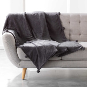 Douceur d 'Intérieur Blanket with Tassels, Polyester, charcoal, 150 cm x 125 cm