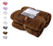DecoKing Deluxe Microfibre Fleece Super Soft Touch Snug Blanket / Sofa Bed Throw Chocolate Brown 70x150 cm Mic