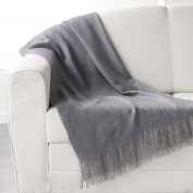 Douceur d 'Intérieur Fringed Blanket 120 x 150 cm Acrylic Shelly, Polyester, charcoal, 150 cm x 120 cm
