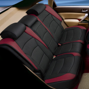 FH Group, Deluxe Leather Seat Cushions thick high-density backing non-slip silicone, Rear Bench, Black Burgundy