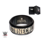 WWE Stainless Steel Black PVD Plated Stone Steve Austin Cold Spinner Ring Size 13