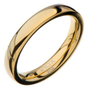 Inox Jewellery FRW5000G-6 High Polished Plain Wedding Band Stainless Steel Ring - Black & Gold - 3 mm & 6 in.