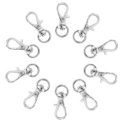 10 Pcs Silver Plated Swivel Trigger Clasps for Bag Crafts Key Ring Findings