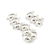 Skyllc® 10 X Unique Silver Round shaped magnetic buckle Necklace Buckles 8MM