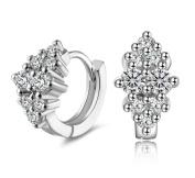 Scrox 1 Pair Fashion Earrings Shiny Elegant Silver Earrings Women Girls Earrings Ear Studs Beautiful and charming Jewellery Accessories Gift Design
