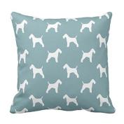 SJFY Wire Fox Terrier Silhouettes Pattern Throw Pillowcase 18x18