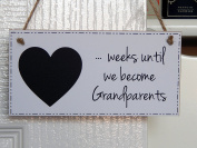 Grandparents To Be Baby Countdown Chalkboard Plaque - Pregnancy Count Down New Nanny and Grandad Gift Sign