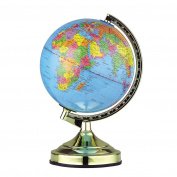 Invero® 33cm World Globe Desk Light Up Lamp - Four Phase Touch Control (Night, Soft, Bright and Off) - Detailed Map Ideal for Educational, Fun Novelty Gift and more - Polished Brass