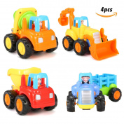 FUNTOK Car Toys Push and Go Friction Powered Vehicle Toy Set 4pcs Sets of Tractor Bulldozer Cement Mixer and Dumper Early Education for Toddlers Children Kids