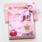 Lalang 10pcs Girl's Ribbon Hair Clips Set Cute Bowknot Flower Princess Glitter Hair Barrettes, Pink
