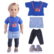 4pcs Top + Skirt + Leggings + Shoes Doll clothes for 18 inch American girl doll And other dolls 43-46cm
