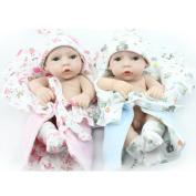 Kaydora Reborn Baby Dolls 25cm Boy and Girl Twins Full Body Silicone Newborn Baby Reborn Dolls Bathe Partner Toy Gift