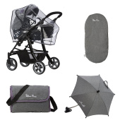 Silver Cross Ultimate Dolls Pram Accessory Pack - Eton Grey Fabric