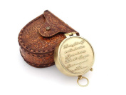 Thoreau's Go Confidently Quote Engraved Compass with Embossed Leather case by NAUTICALMART