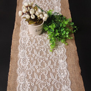 """IBuyi 12x42.5"""" Rustic Burlap Hessian White Lace Table Runner Natural Jute for Vintage Retro Wedding Festival Christmas Event Party Table Decoration (BLR-TR-05"""