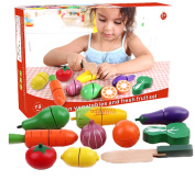 19 pcs Wooden Vegetables and Fruits Set Veg Cutting Play Food Pretend Play Toy
