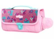Smiggle Handbag Pencil Case with Fluffy Pom Pom Charm - Sparkle Pink Hearts