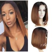 ZanaWigs 7A Brazilian Virgin Human Hair Short Bob Lace Front Wigs for Black Women Straight Bob Cut Wigs 130% Density Ombre Colour