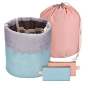 2 Pieces Barrel Shaped Travel Bag Makeup Bag Cosmetic Bag Travel Kit Organiser Bathroom Storage Carry Case Toiletry Bags, Green and Pink