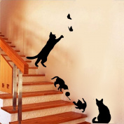 MLMSZ Black Lovely Cats Butterfly Playing DIY Removable Art Mural Vinyl Wall Stickers Wall Decal Art Mural Baby Nursery Room