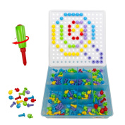 Pegboard Toy with Mushroom Nails Screw Mosaics Puzzle Kit Construction Game for Kids age . , 352 pcs
