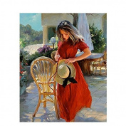 Kofun DIY Digital Oil Painting By Numbers Girl In Red Dress Hat Unframed On Canvas Decor Gift 40x50 cm/15.75x19.69""
