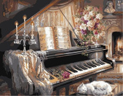 Paint by Numbers with Frame or Not, New Release Diy Oil Painting by Numbers Kits - Piano 16*50cm - Digital Oil Painting Canvas Kits Junior for Adults Children Kids with 3X Magnifier - Wall Art Artwork Landscape Paintings for Home Living Room Offic ..