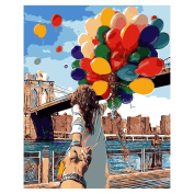 TOOGOO(R) DIY Oil Painting,Paintworks Paint By Number-Romantic Lover Balloon 41cm x 50cm