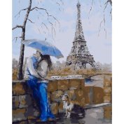 SLYlive Dream-Hand-Painted Oil Paintings, Lovers In The Blue Umbrella Unframed Paint DIY Oil Painting By Numbers Wall Decor Framed Modern Abstract Wall Art Paintings for Wall Decorations Home Decorations