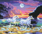 L'Art et la Manière Painting to the number pattern Horses in the twilight 30 x 40 cm Colours Assorted