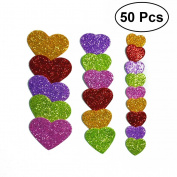 TOYMYTOY 50pcs Glitter Foam Stickers Self-adhesive EVA Foam Sticker Heart Shape Stickers for DIY Classroom Decoration