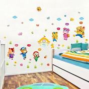 ALLDOLWEGE Stylish and Creative Cartoon wall surface of the bed decor wall sticker art self adhesive animal school