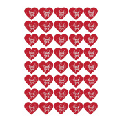 40 Red Heart Stickers - Valentines day